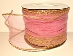 Mauve Wired Tulle with Gold Edge (3